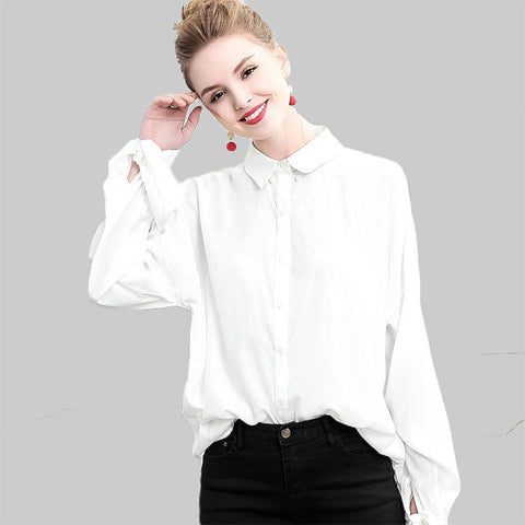 Women's Blouse Casual Self Bow Tie Full Sleeves Oversized Long Cotton for Spring