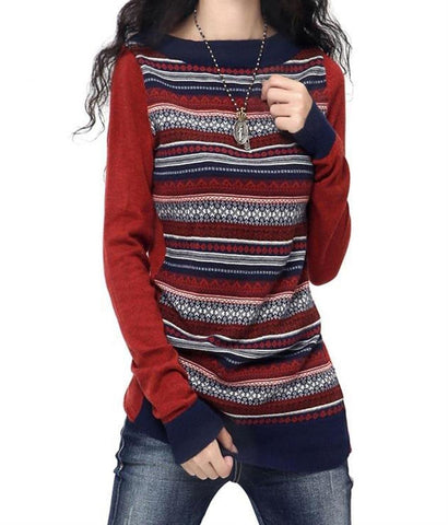 Women's Sweater Long Artkas Style Knitted Cashmere Warm for Winter Autumn
