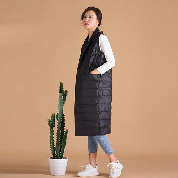 Women's Long Vest Ultra Light Down Sleeveless Turn-down Collar Single Breasted Warm