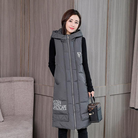 Women's Vest Mid-long Down Cotton Padded Sleeveless Hooded for Autumn Winter