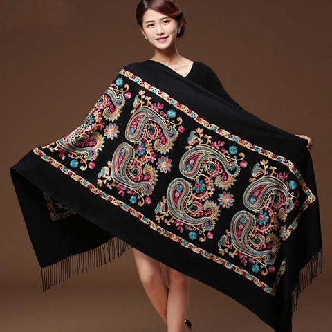 Women's Shawl Embroider Flower Cashmere Warm Fine Tassels Oversize for Winter
