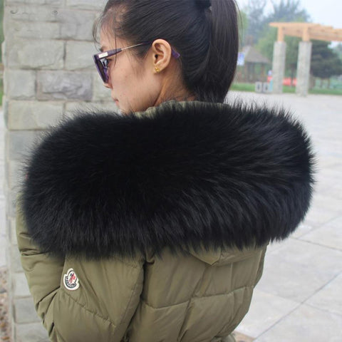 Women's Warm Scarf Big Size Real Natural Raccoon Fur Collar fo Winter