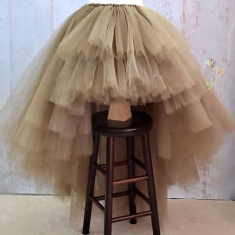 Women's Skirt Tiered Layers Tulle Personalized Puffy Asymmetrical Real Photo