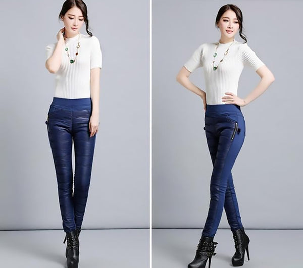 Women's Pants Duck Down Plus Size High Waist Outwear Warm Skinny Slim Casual for Winter