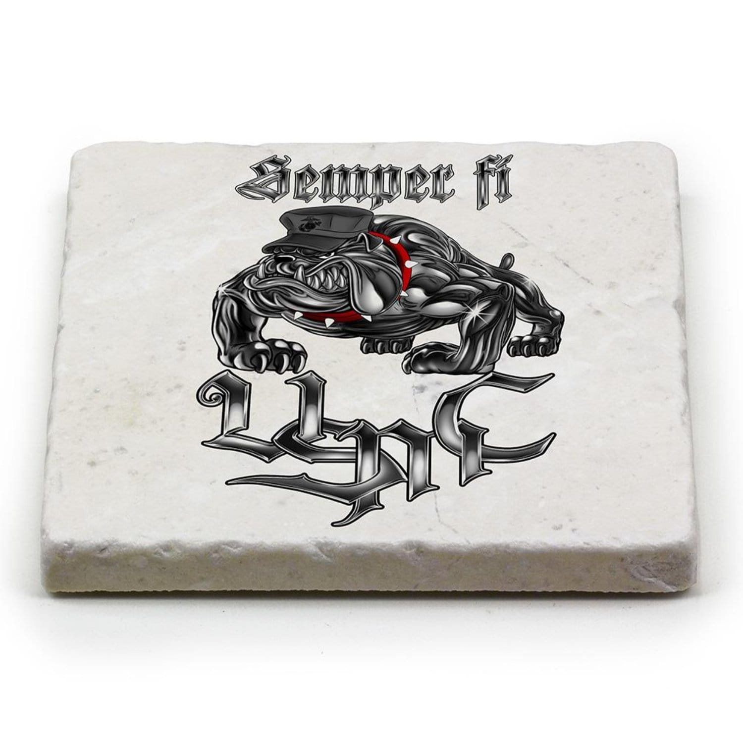 Semper Fi Chrome Dog Marine Corps Coaster Ivory