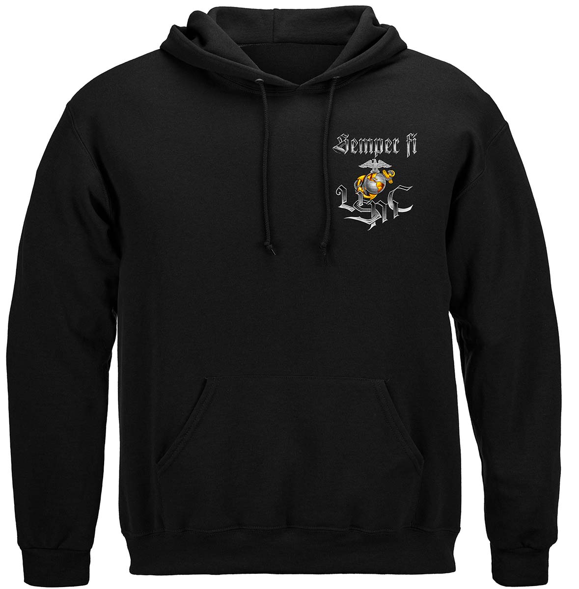 Semper Fi Chrome Dog Marine Corps Premium Hooded Sweat Shirt