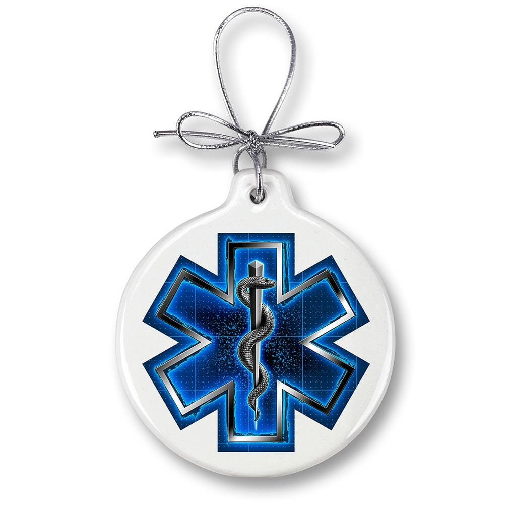EMS On Call For Life Silver Snake Christmas Tree Ornaments