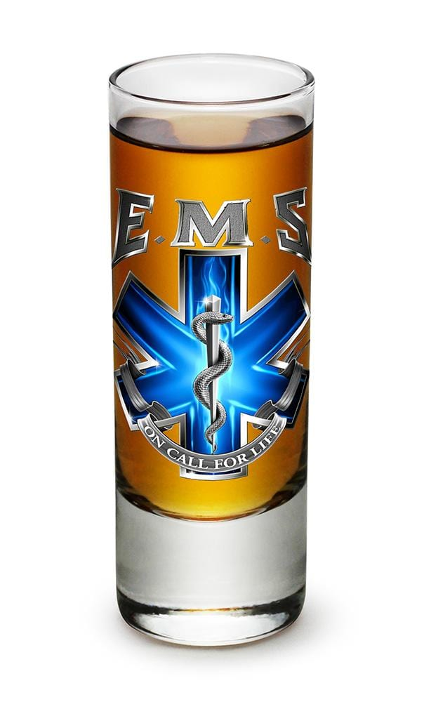 EMS On Call For Life 2oz Shooter Shot Glass Glass Set