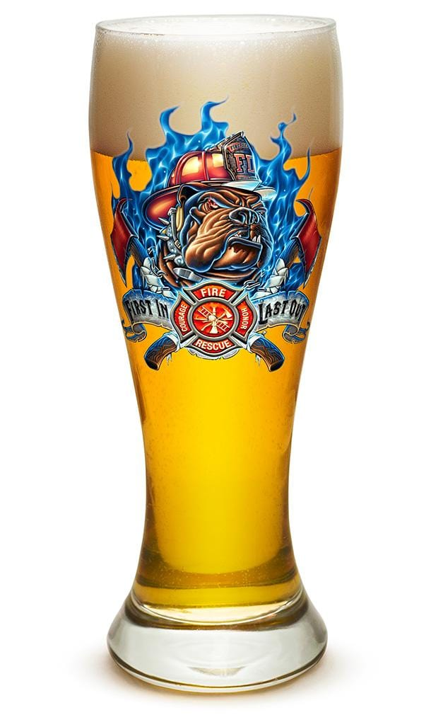 First In Last Out Firefighter 23oz Pilsner Glass Glass Set
