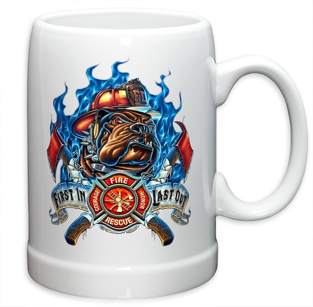 First in Last Out Firefighter Stoneware White Coffee Mug Gift Set