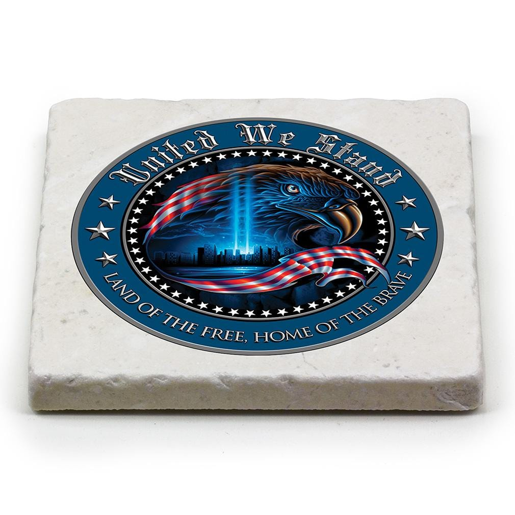 Patriotic United We Stand Ivory Tumbled Marble 4IN x 4IN Coaster Gift Set