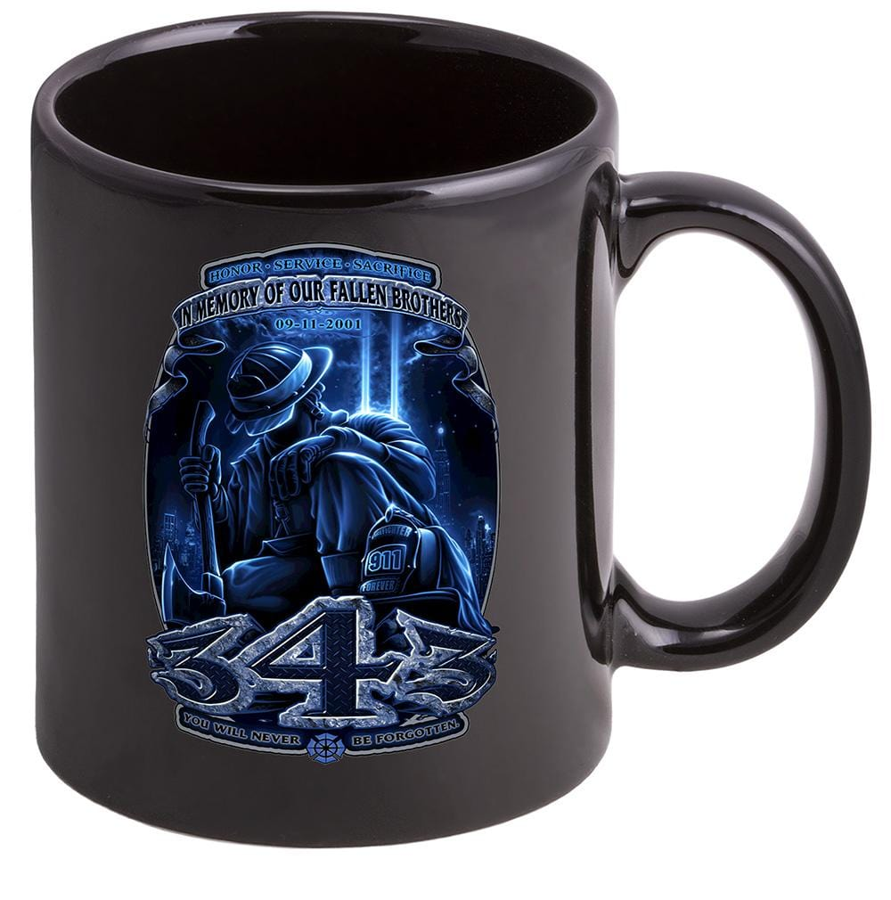 Firefighter 343 You Will Never Be Forgotten Stoneware Black Coffee Mug Gift Set