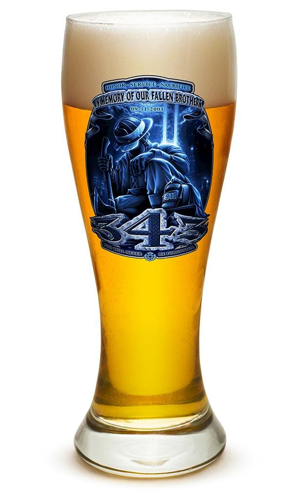343 You Will Never Be Forgotten Firefighter 911 23oz Pilsner Glass Glass Set