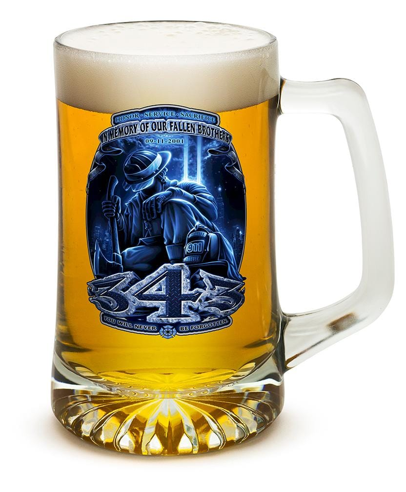 343 You Will Never Be Forgotten Firefighter 911 25oz Tankard Glass Set
