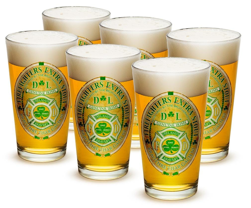 Firefighter Irelands Bravest 16oz Pint Glass Glass Set