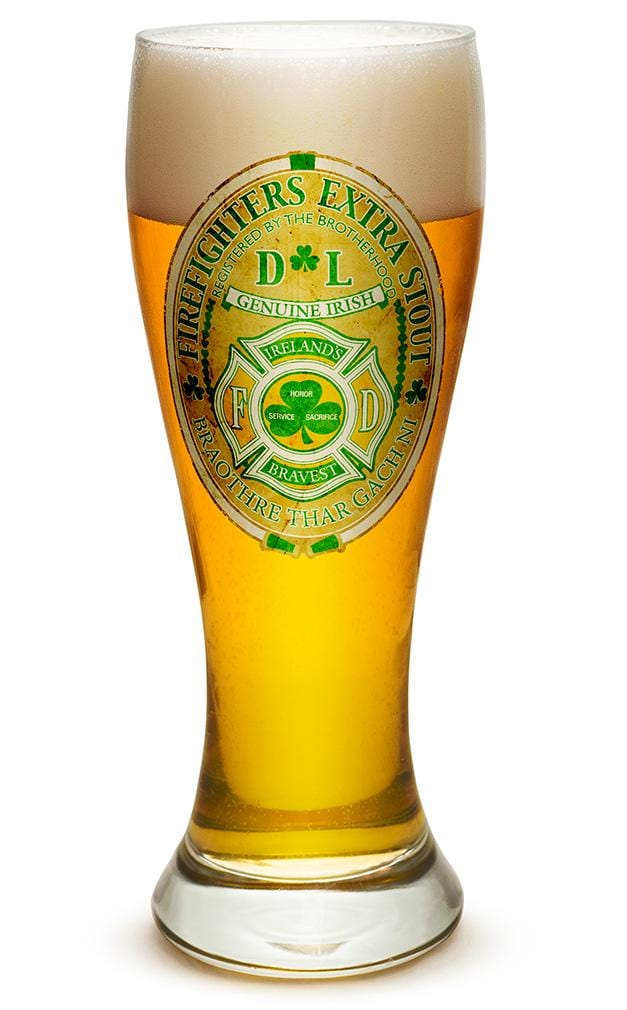 Firefighter Irelands Bravest 23oz Pilsner Glass Glass Set