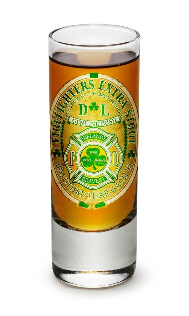 Firefighter Irelands Bravest 2oz Shooter Shot Glass Glass Set