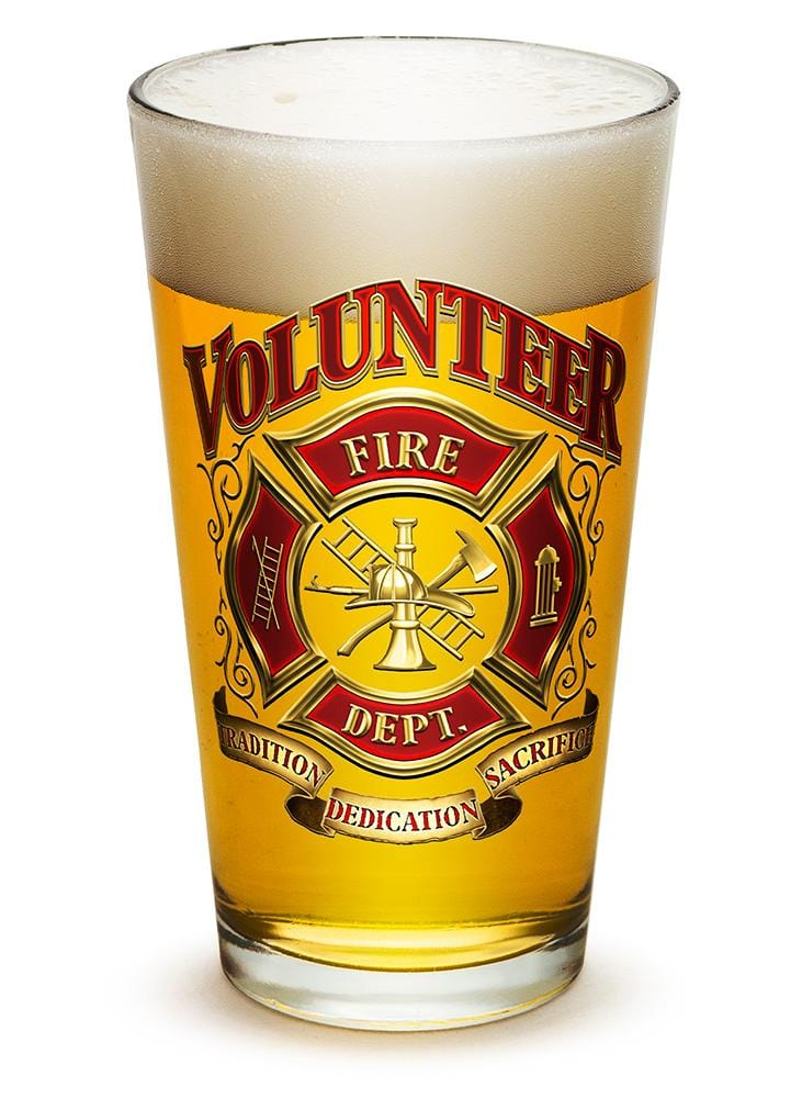 Volunteer Firefighter 16oz Pint Glass Glass Set
