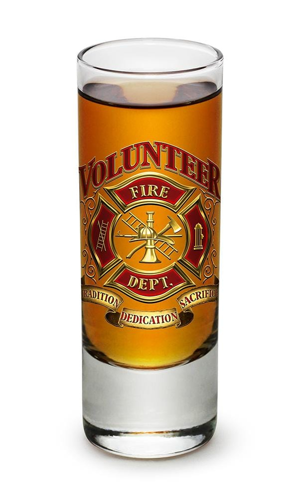 Volunteer Firefighter 2oz Shooter Shot Glass Glass Set