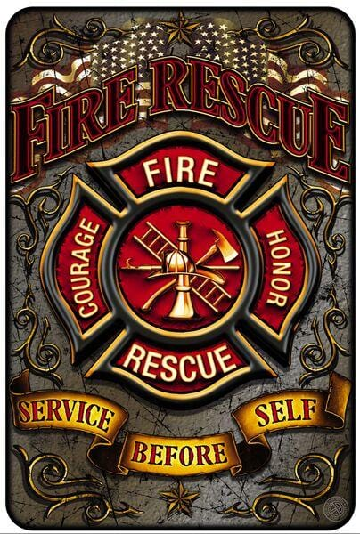 Fire Rescue Courage Honour Firefighter Aluminium Sign Decor