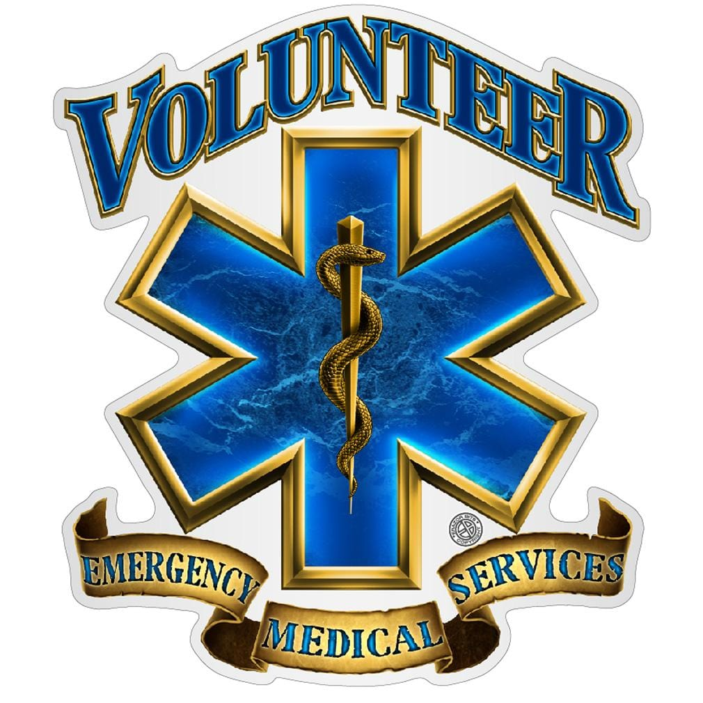 Volunteer EMS Gold Shield Premium Reflective Decal