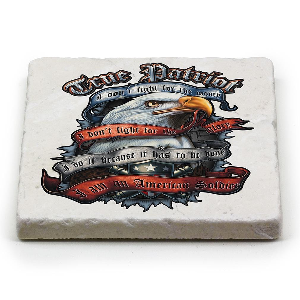 True Patriot Ivory Tumbled Marble 4IN x 4IN Coaster Gift Set