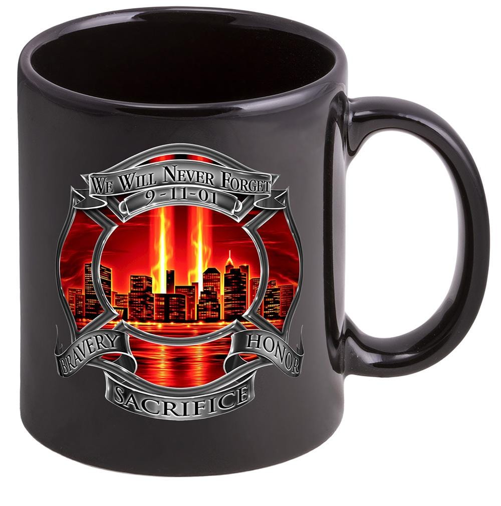 Red Tribute High Honor Firefighter Stoneware Black Coffee Mug Gift Set