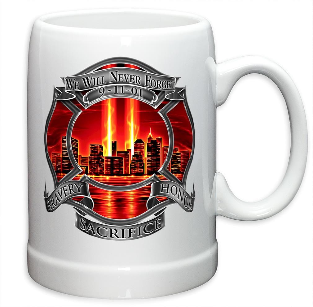 Red Tribute High Honor Firefighter Stoneware White Coffee Mug Gift Set