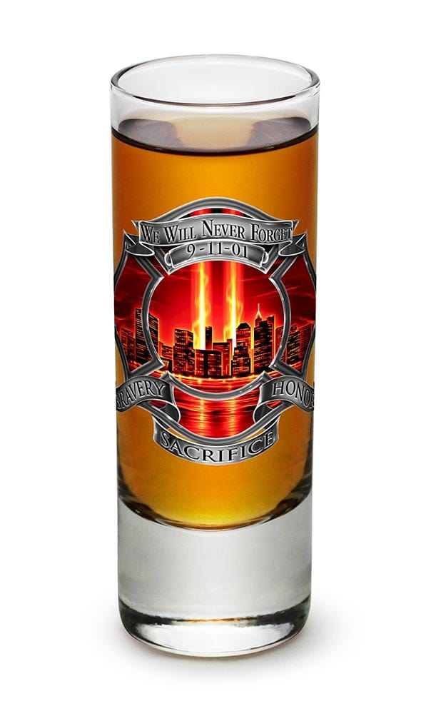 Tribute High Honor Red Firefighter 2oz Shooter Shot Glass Glass Set