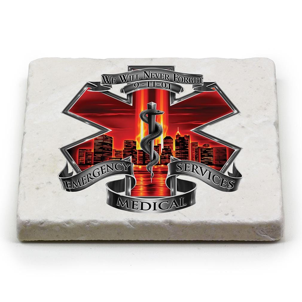 Red High Honor EMS EMT Tribute Ivory Tumbled Marble 4IN x 4IN Coasters Gift Set