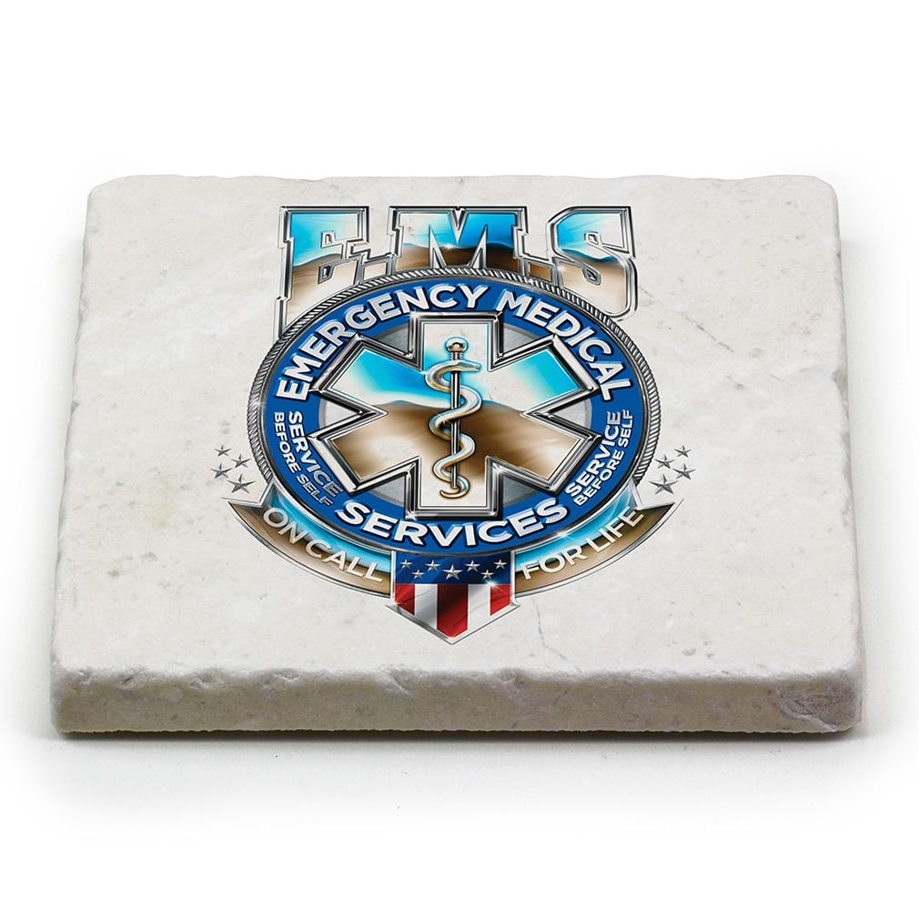 EMS EMT Badge of Honor Ivory Tumbled Marble 4IN x 4IN Coasters Gift Set