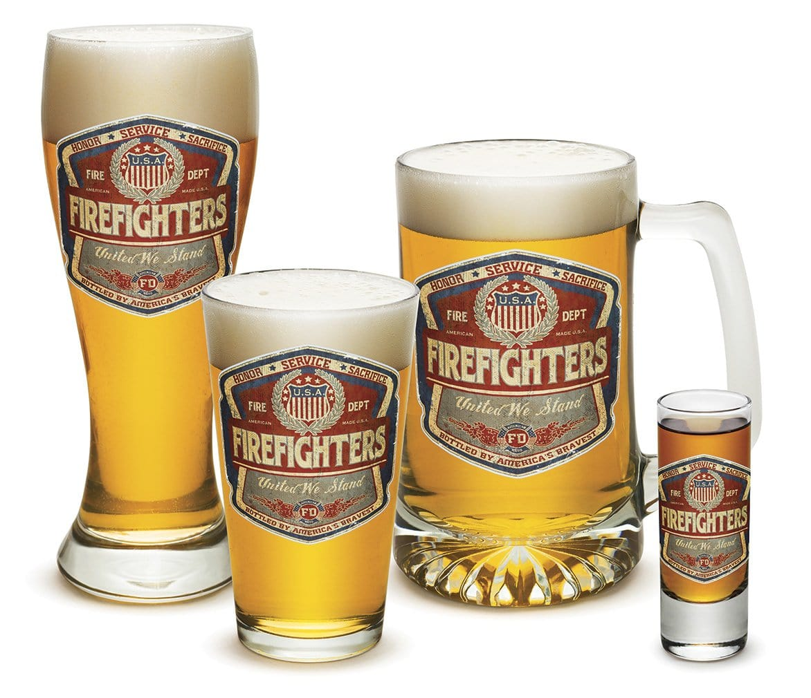 Denim Fade Beer Label Firefighter 4 Piece Glass Gift Set