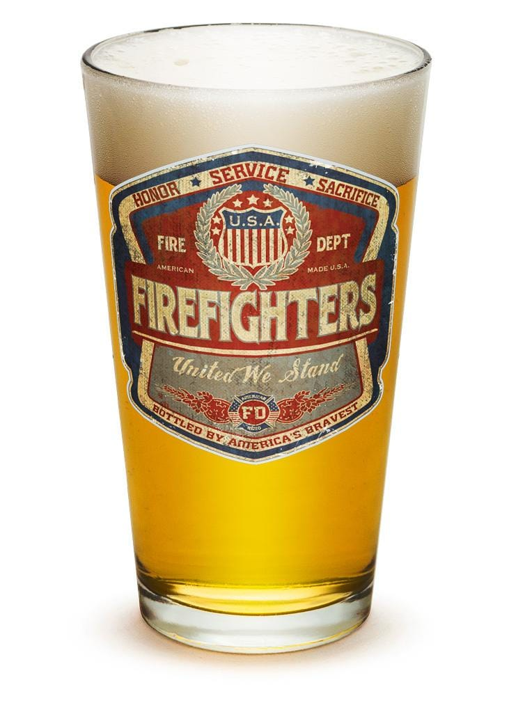 Denim Fade Beer Label Firefighter 16oz Pint Glass Glass Set