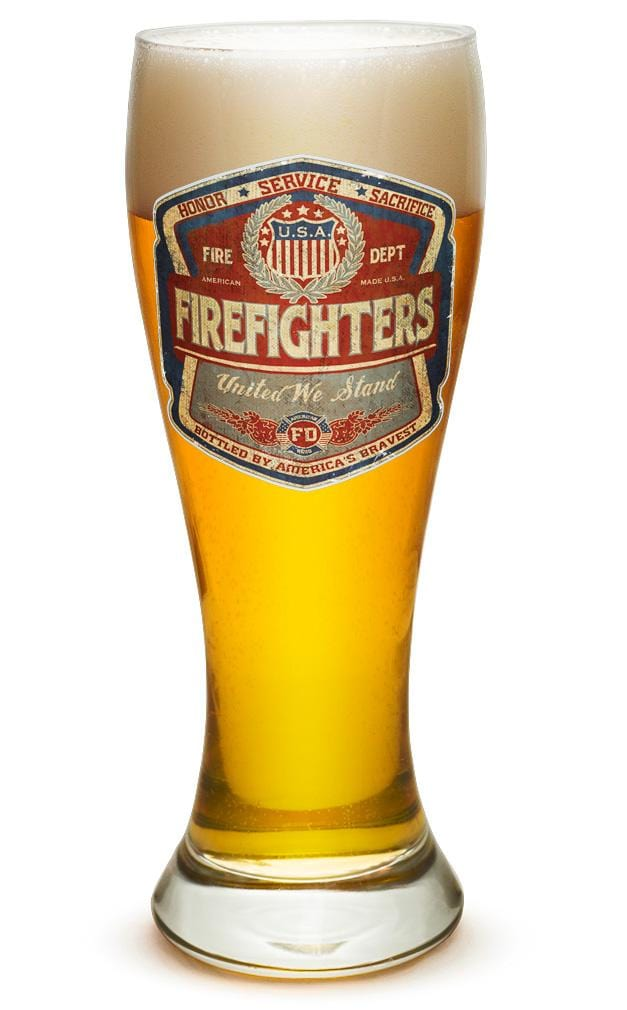 Denim Fade Beer Label Firefighter 23oz Pilsner Glass Glass Set