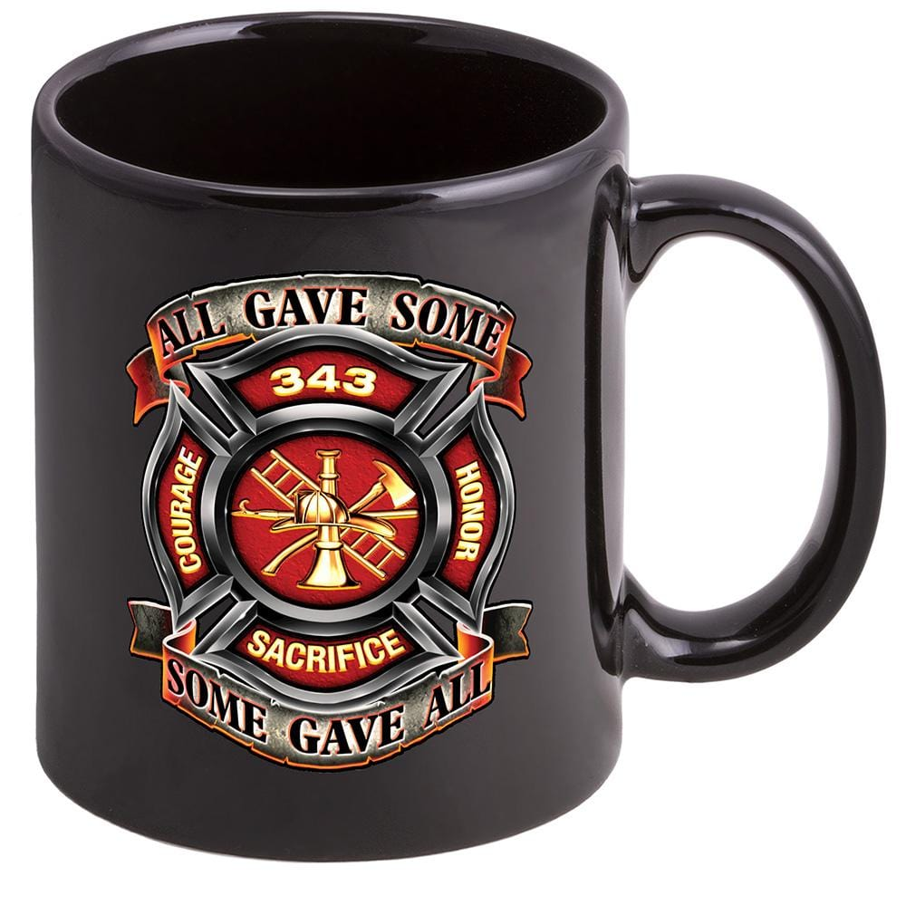 Firefighter Fire Honor Courage sacrifice 343 badge Stoneware Black Coffee Mug Gift Set