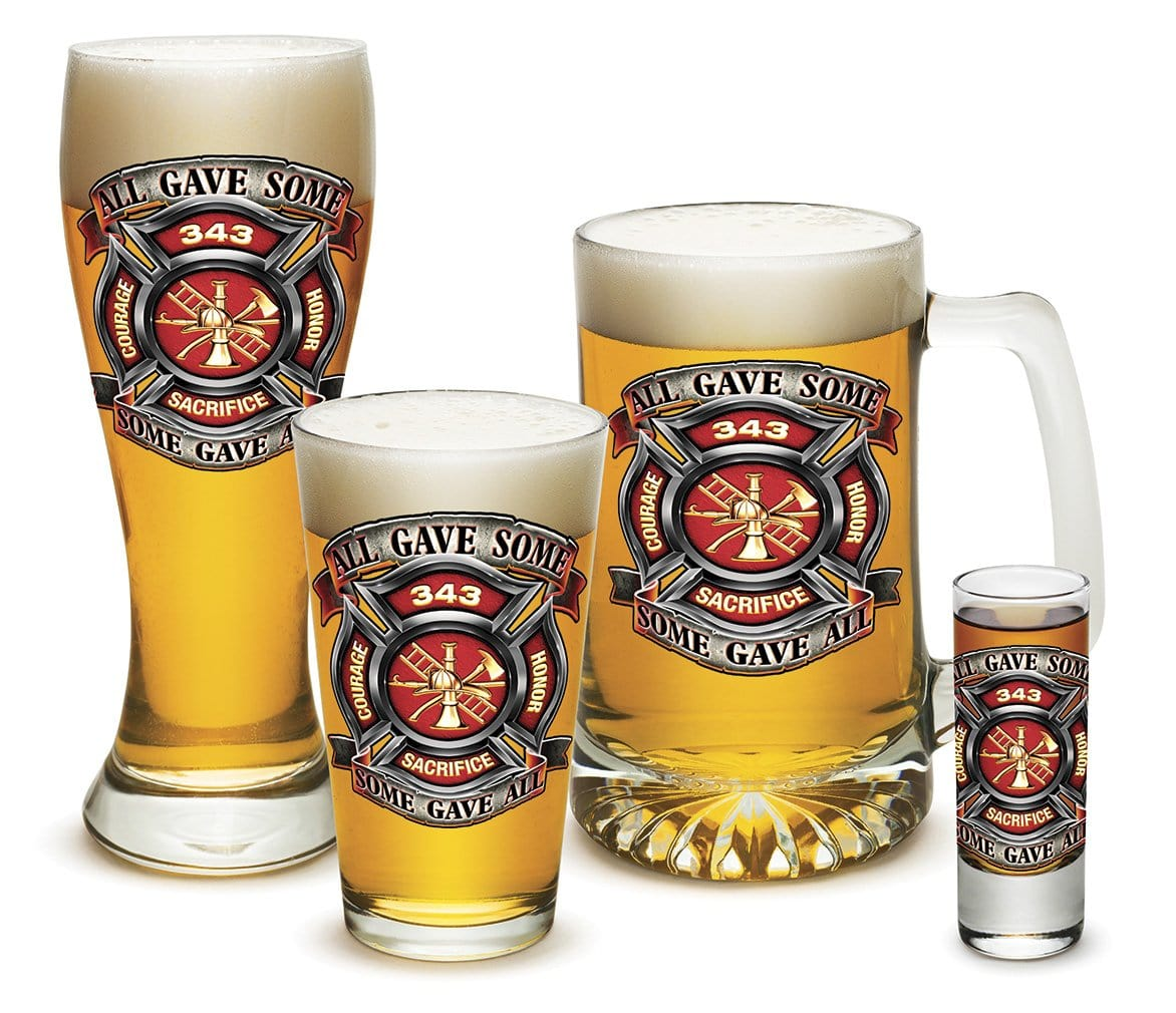 Fire Honor Courage Sacrifice 343 badge Firefighter 4 Piece Glass Gift Set
