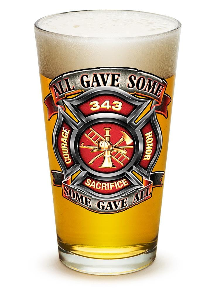 Fire Honor Courage Sacrifice 343 badge Firefighter 16oz Pint Glass Glass Set