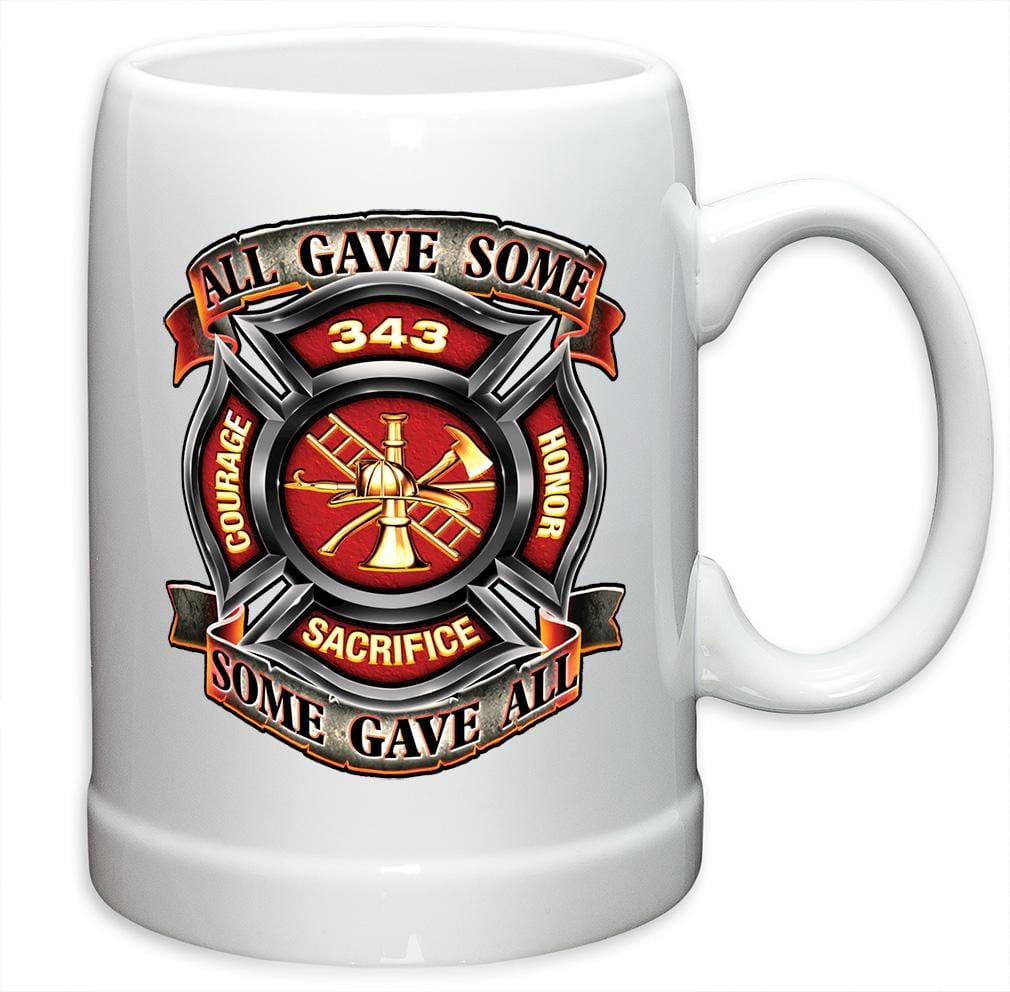 Firefighter Fire Honor Courage sacrifice 343 badge Stoneware White Coffee Mug Gift Set