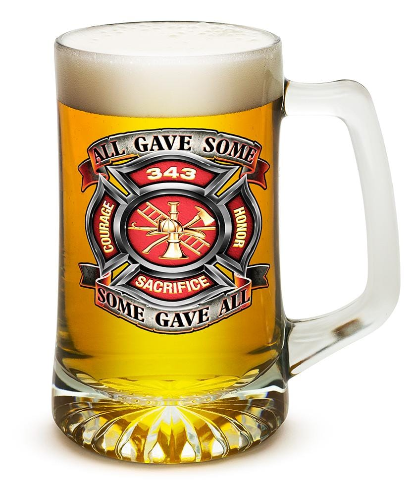 Fire Honor Courage Sacrifice 343 badge Firefighter 25oz Tankard Glass Set