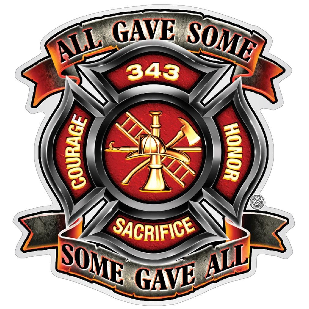 Fire Honor Courage sacrifice 343 Badge Premium Reflective Decal