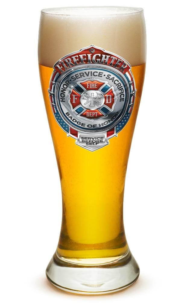 Fire Honor Service Sacrifice Chrome Badge Firefighter 23oz Pilsner Glass Glass Set