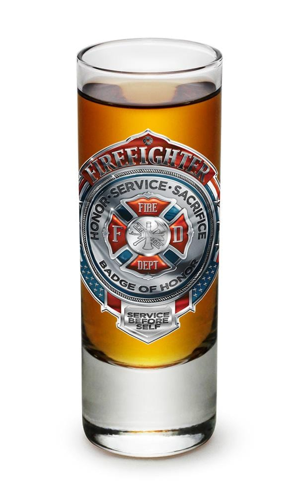 Fire Honor Service Sacrifice Chrome Badge Firefighter 2oz Shooter Shot Glass Glass Set