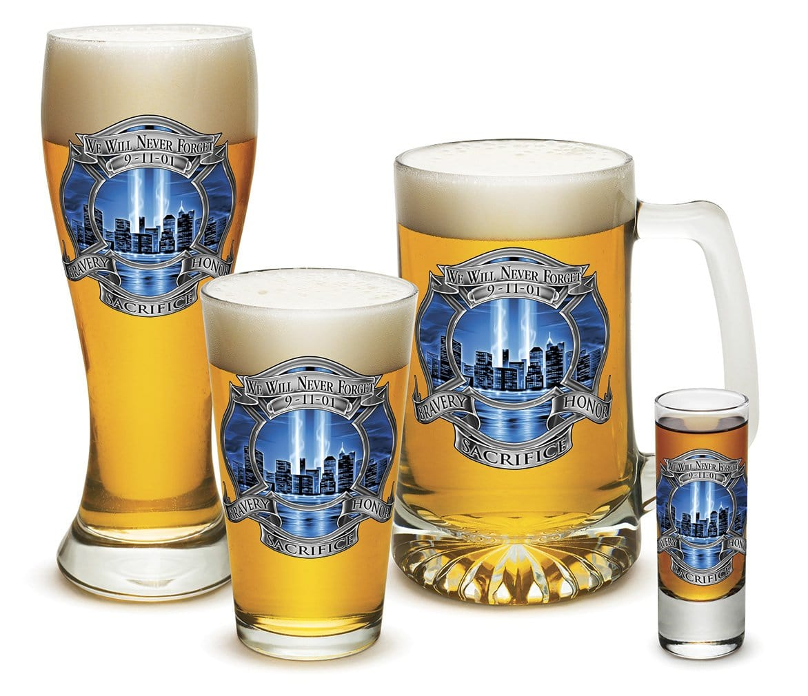 911 Firefighter Blue Skies 4 Piece Glass Gift Set