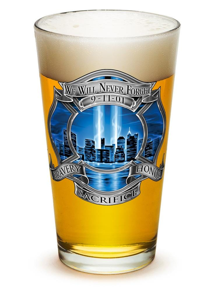 911 Firefighter Blue Skies 16oz Pint Glass Glass Set