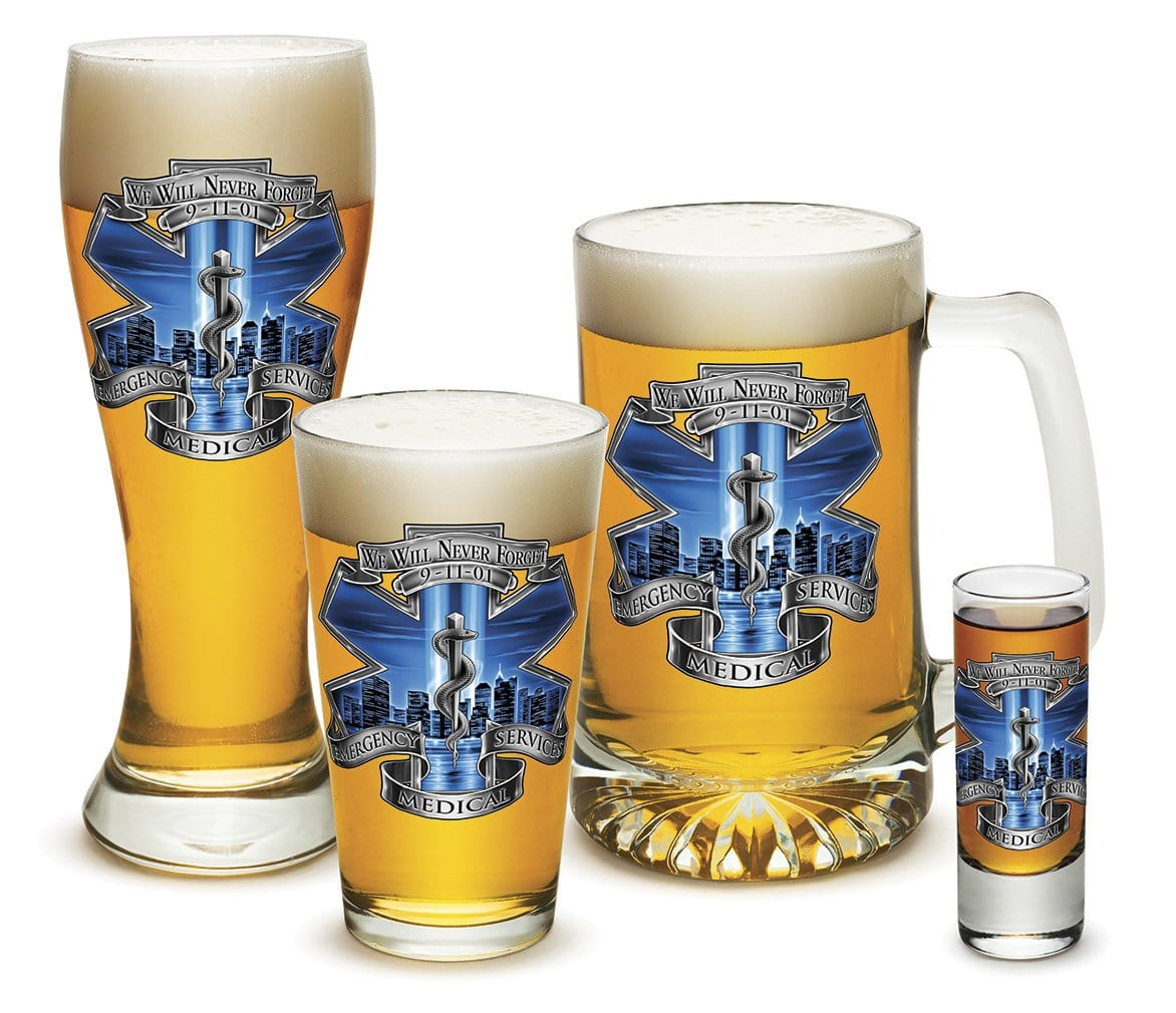 911 EMS Blue Skies 4 Piece Glass Gift Set