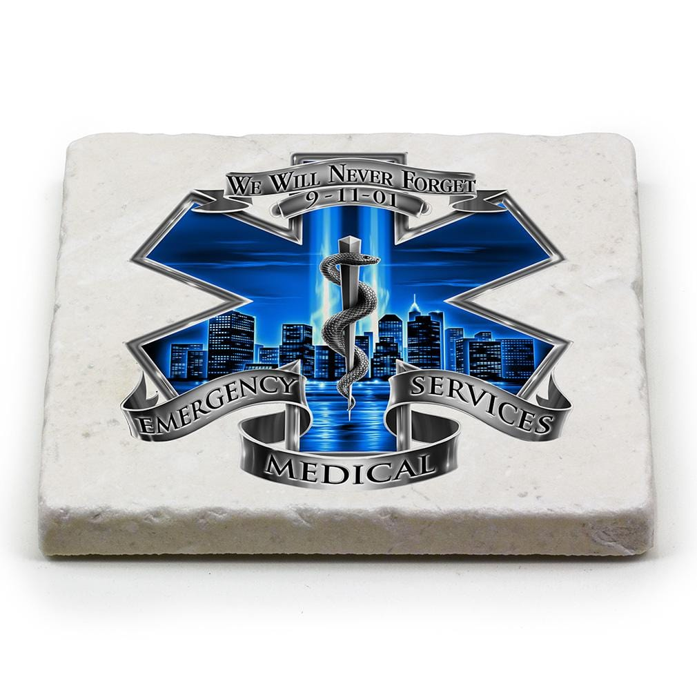 911 EMS EMT Blue Skies We Will Never forget Ivory Tumbled Marble 4IN x 4IN Coasters Gift Set