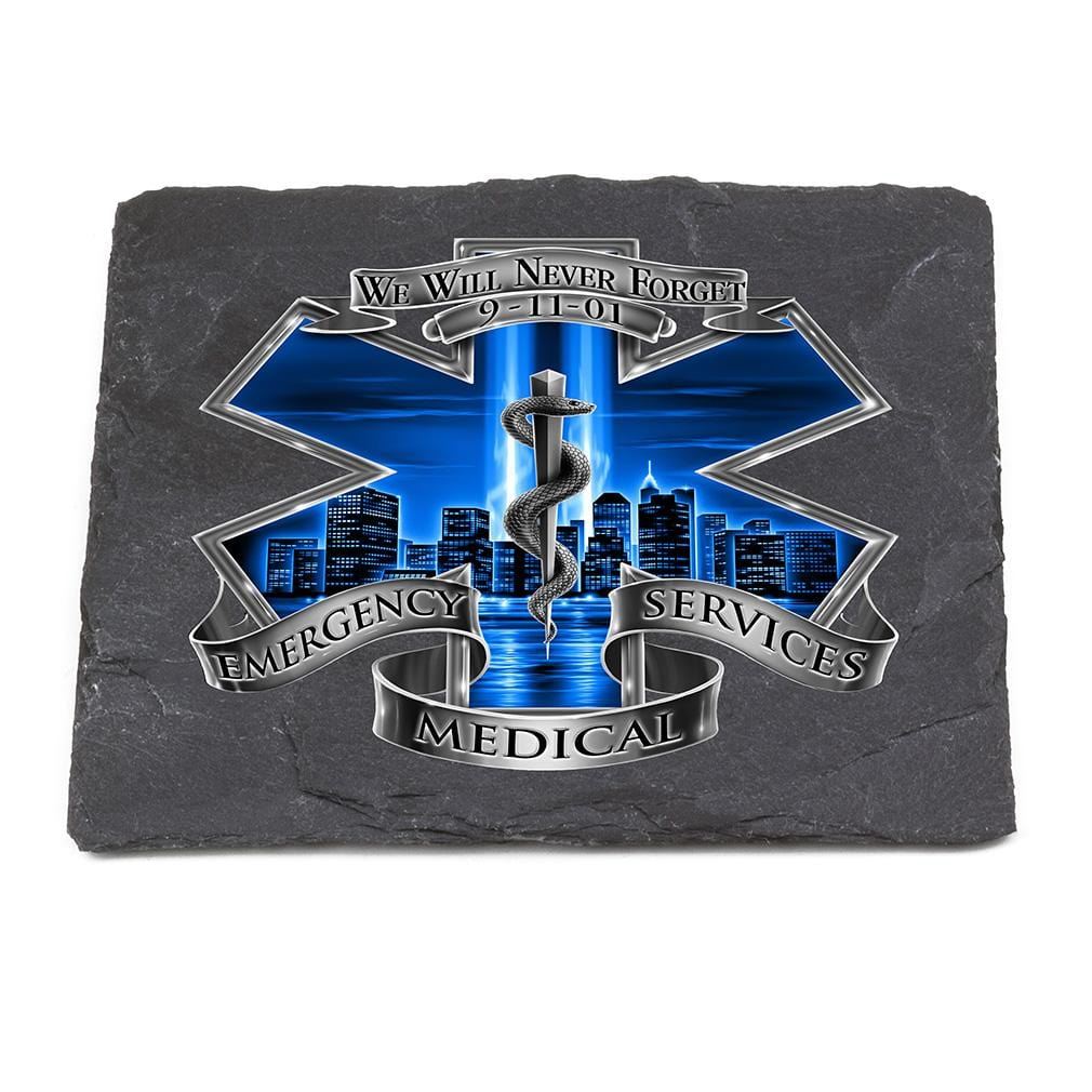 911 EMS EMT Blue Skies We Will Never forget Black Slate 4IN x 4IN Coasters Gift Set