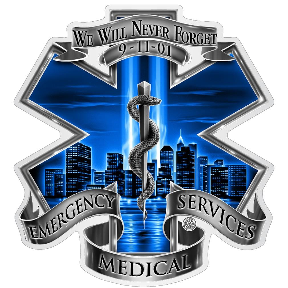 911 EMS Blue Skies We Will Never Forget Premium Reflective Decal