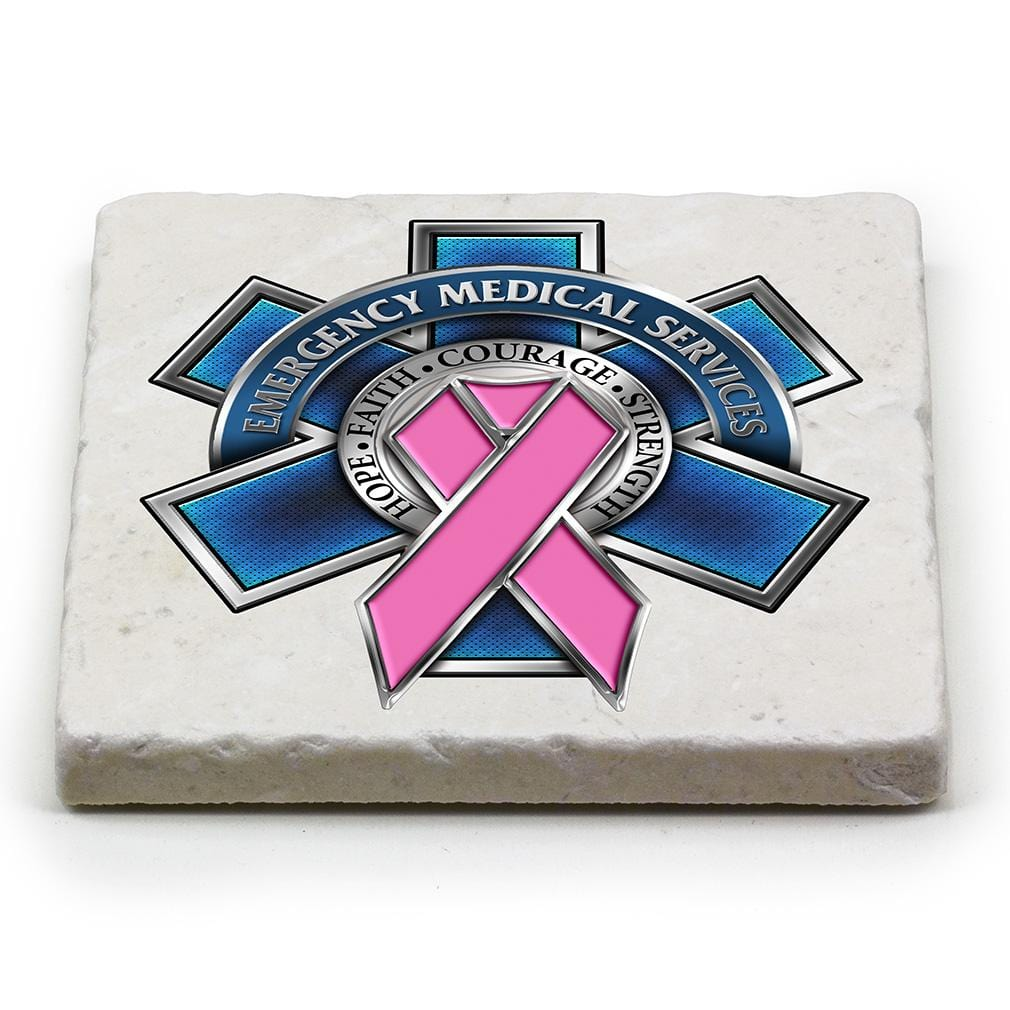 EMS EMT Racefor a Cure Ivory Tumbled Marble 4IN x 4IN Coasters Gift Set