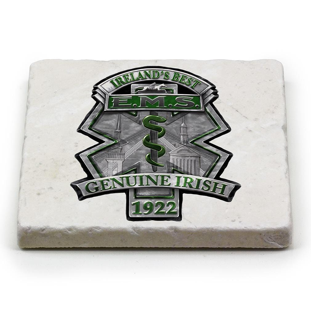 EMS EMT Ireland Best Ivory Tumbled Marble 4IN x 4IN Coasters Gift Set